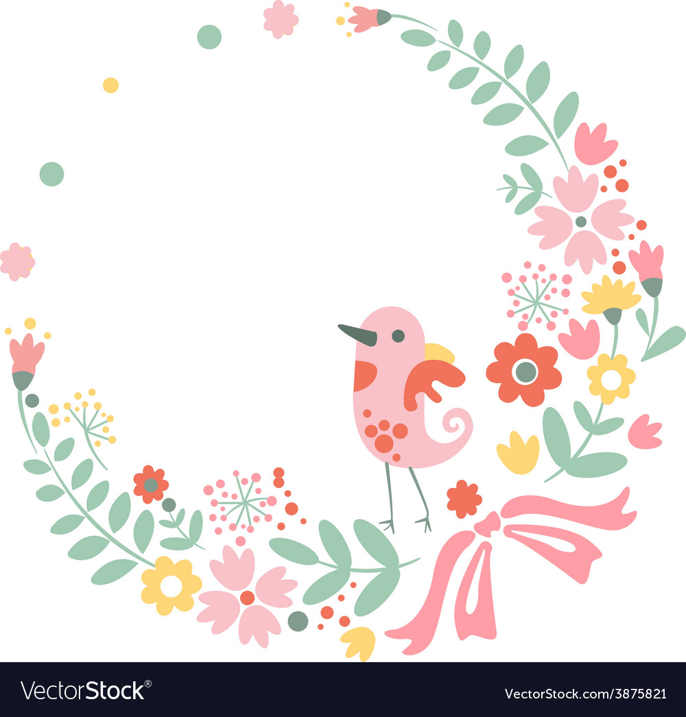 vintage floral background with cute bird in pastel