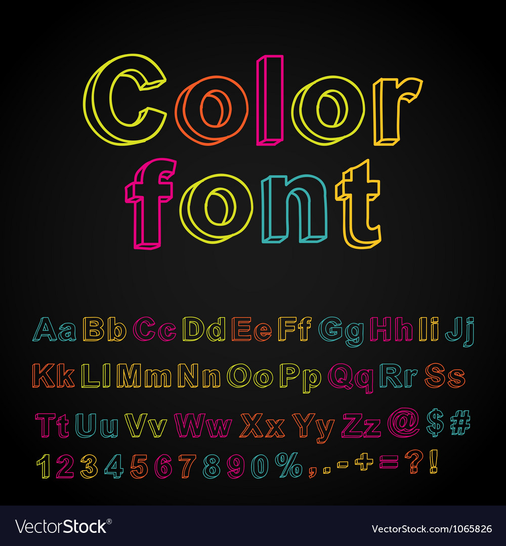Abstract color hand drawing font