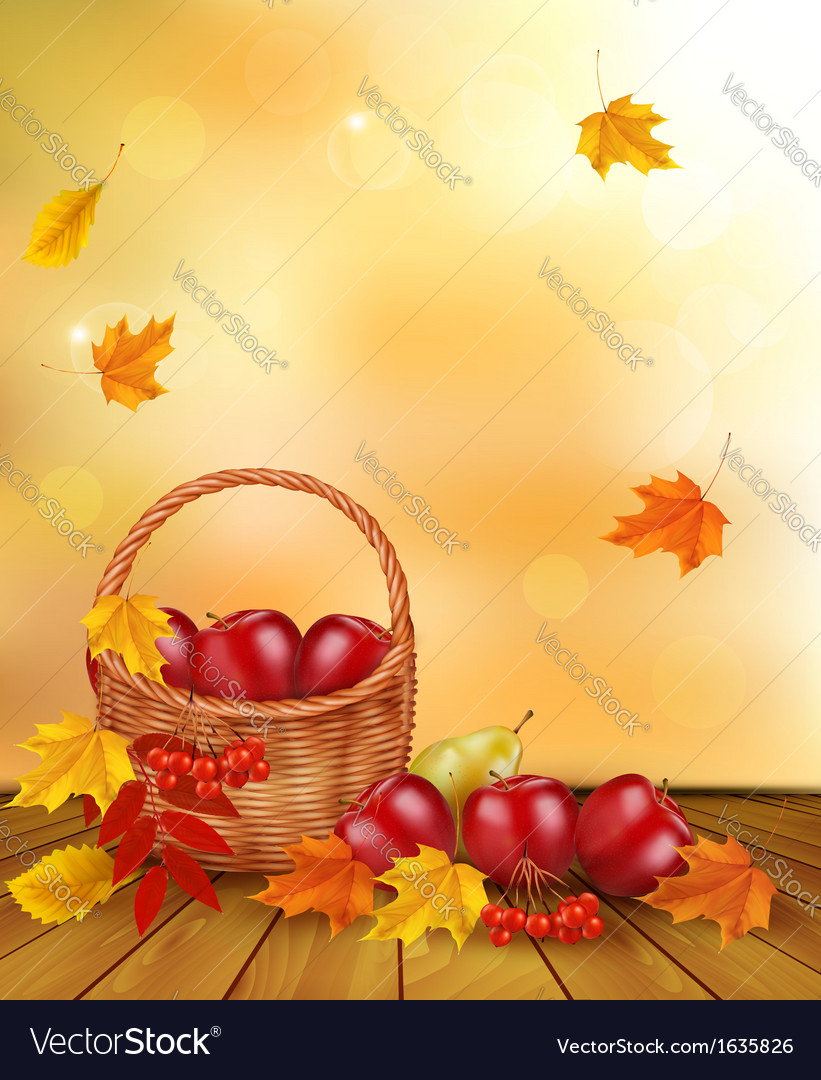 Autumn background with fresh fruit in basket