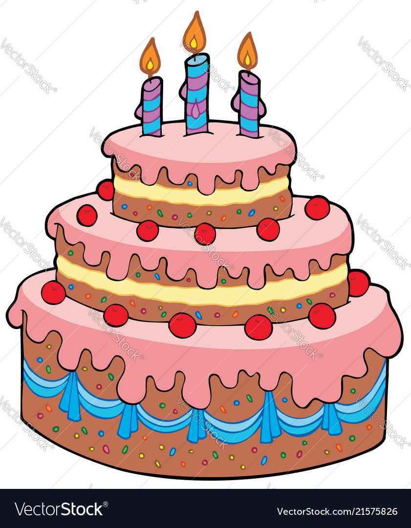 Surprising Big Cartoon Birthday Cake Royalty Free Vector Image Funny Birthday Cards Online Inifodamsfinfo