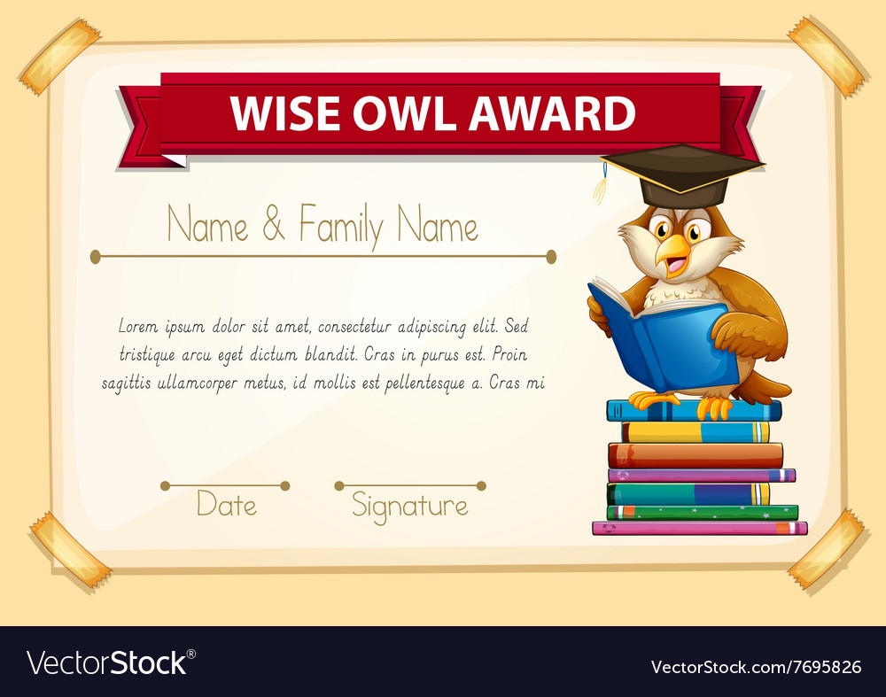 Certificate Template With Owl Reading Books Vector Image