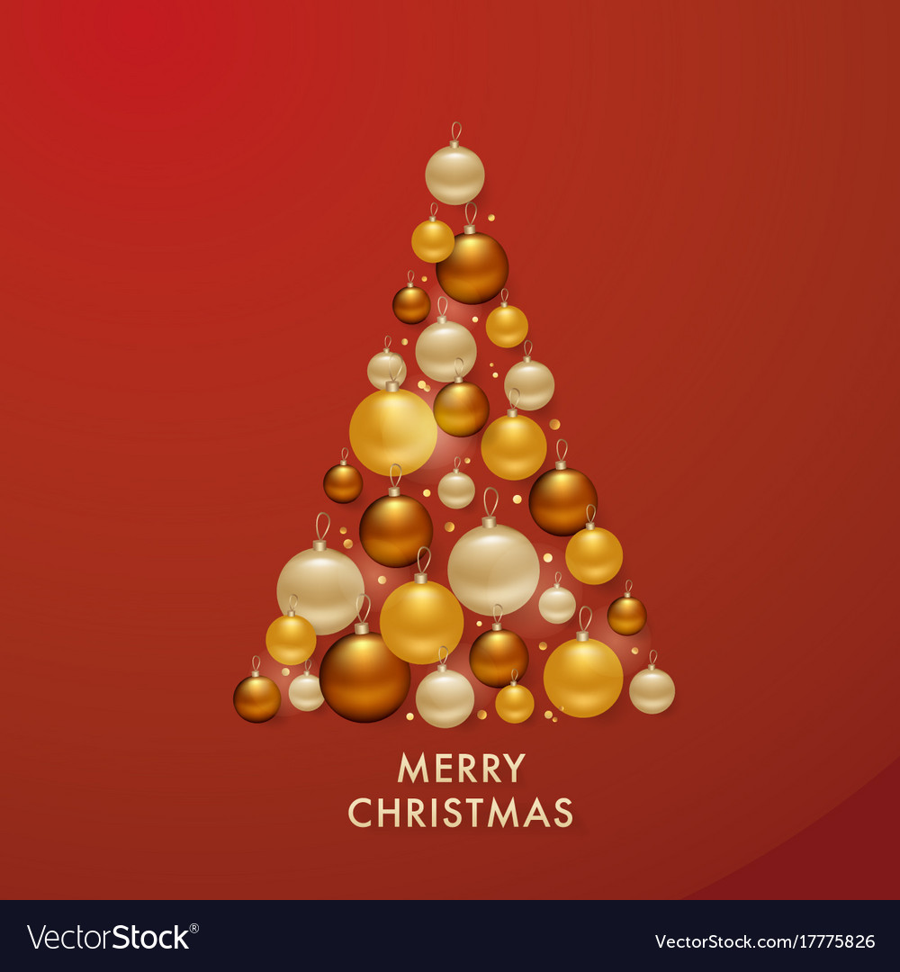 Christmas Tree From Golden Balls Background Vector Image