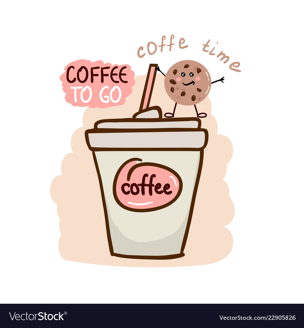 Cute Coffee Cup With Fun Cookie Royalty Free Vector Image