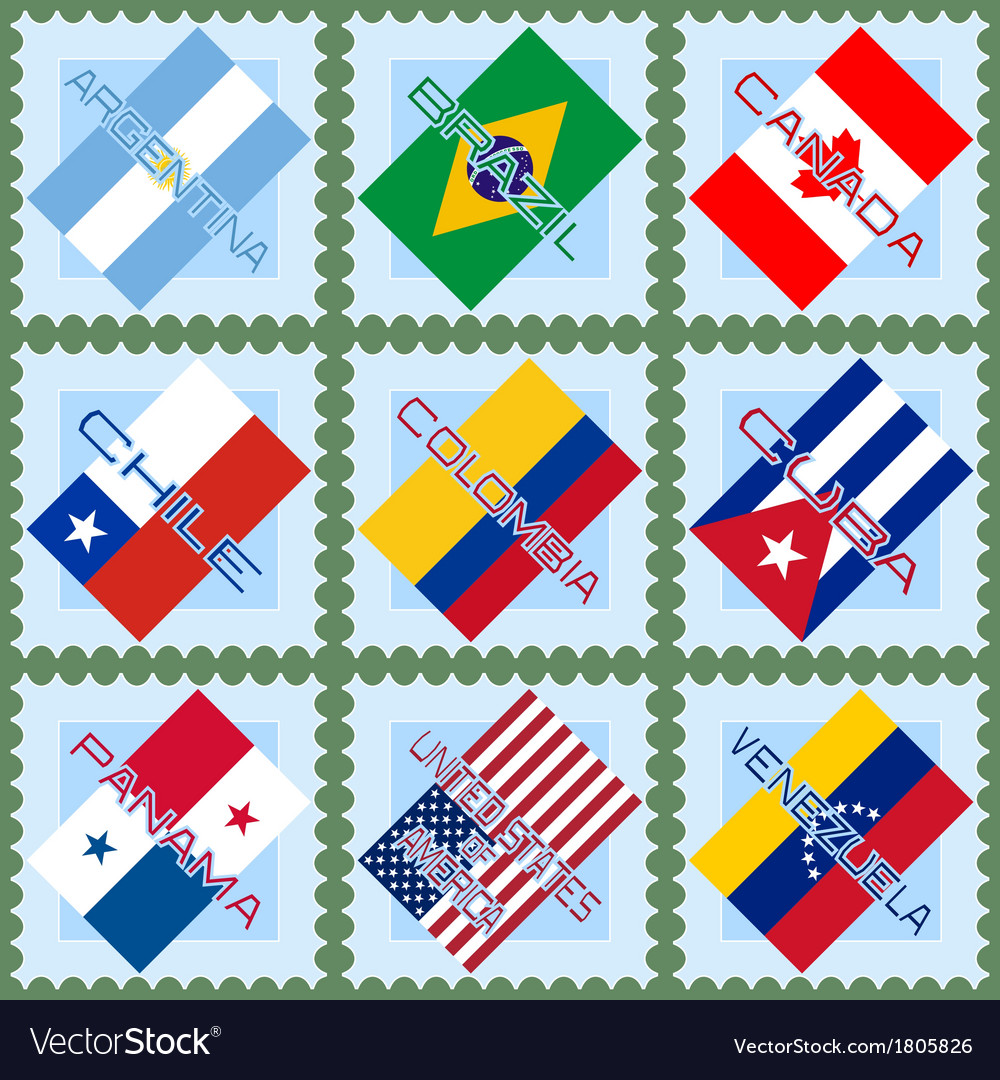 Flags of the countries of South and North America vector image