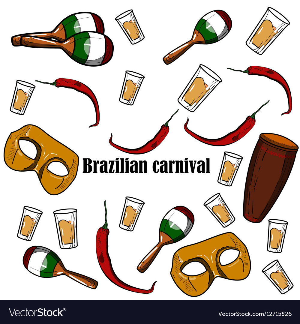 Hand drawn Brazilian Carnival element vector image
