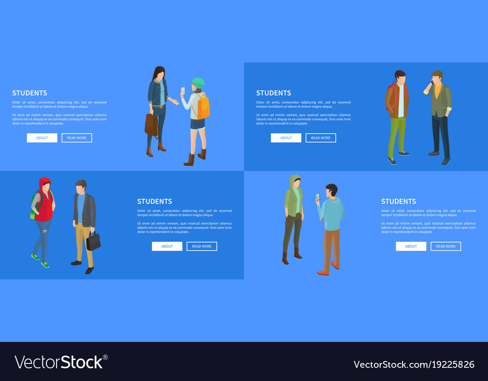 Student young people communicating with each other vector image
