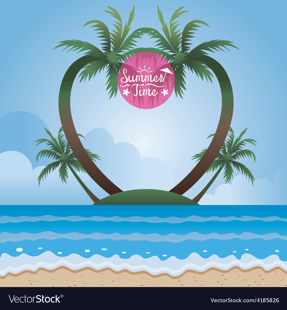 Summer Sea and Coconut Palm Tree on Island Frame vector image