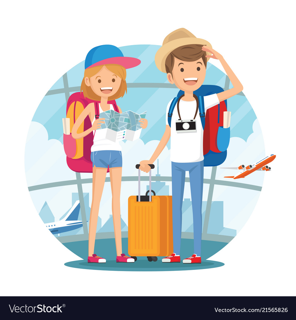 Traveling couple young people