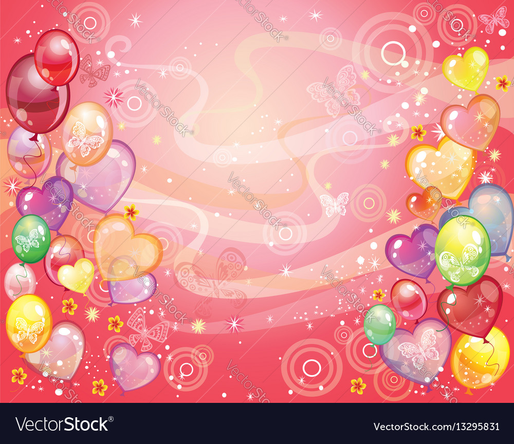 Background with balloons red vector image