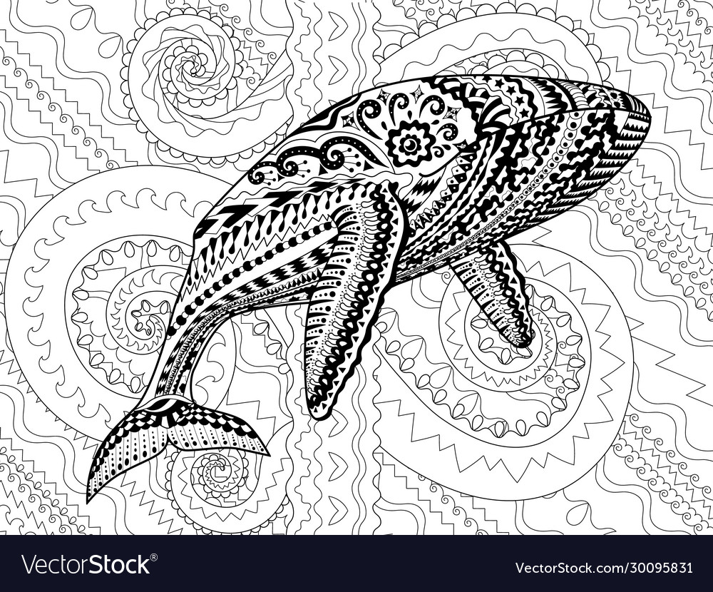 Coloring pages for adult with blue whale Vector Image | 830x1000