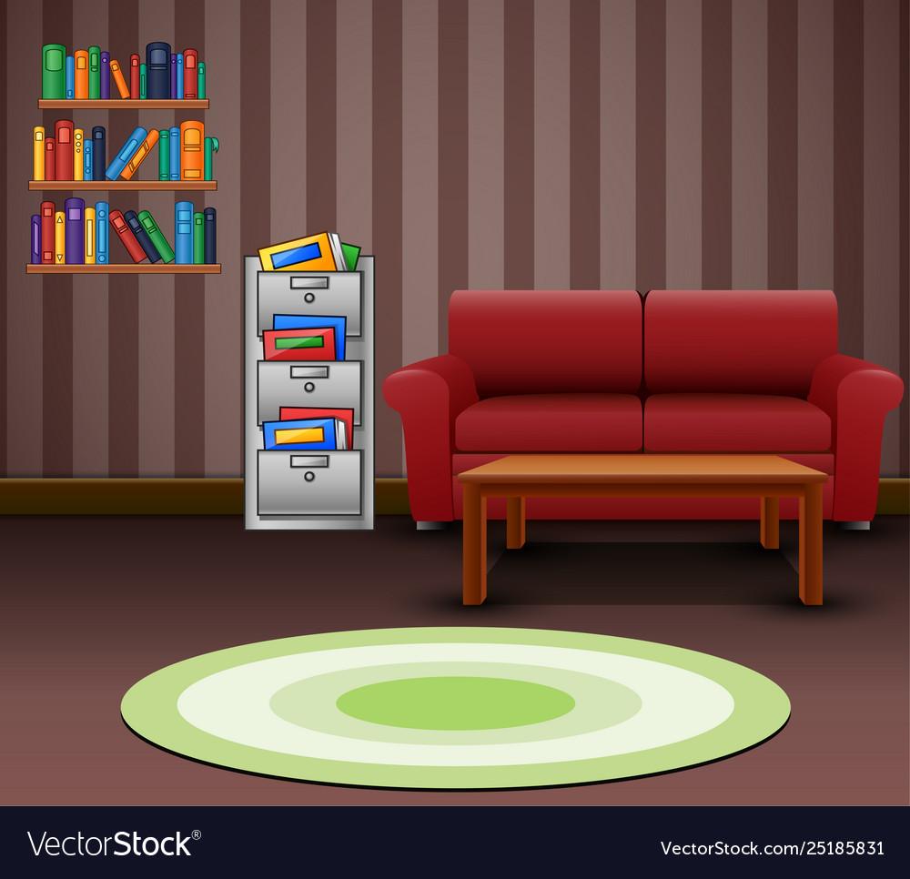Cozy living room interior with a red sofa