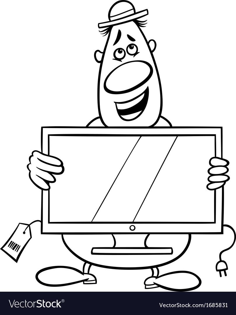 Salesman cartoon coloring page Royalty Free Vector Image