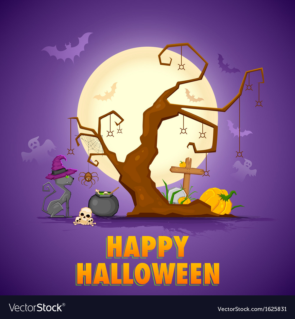 Scary cat in Halloween Night vector image