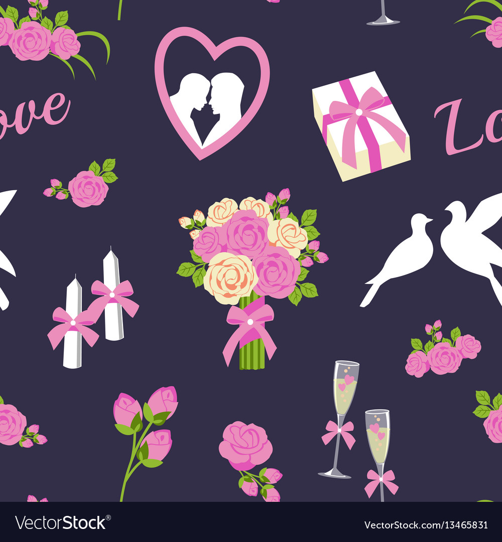 Wedding and valentine day seamless pattern