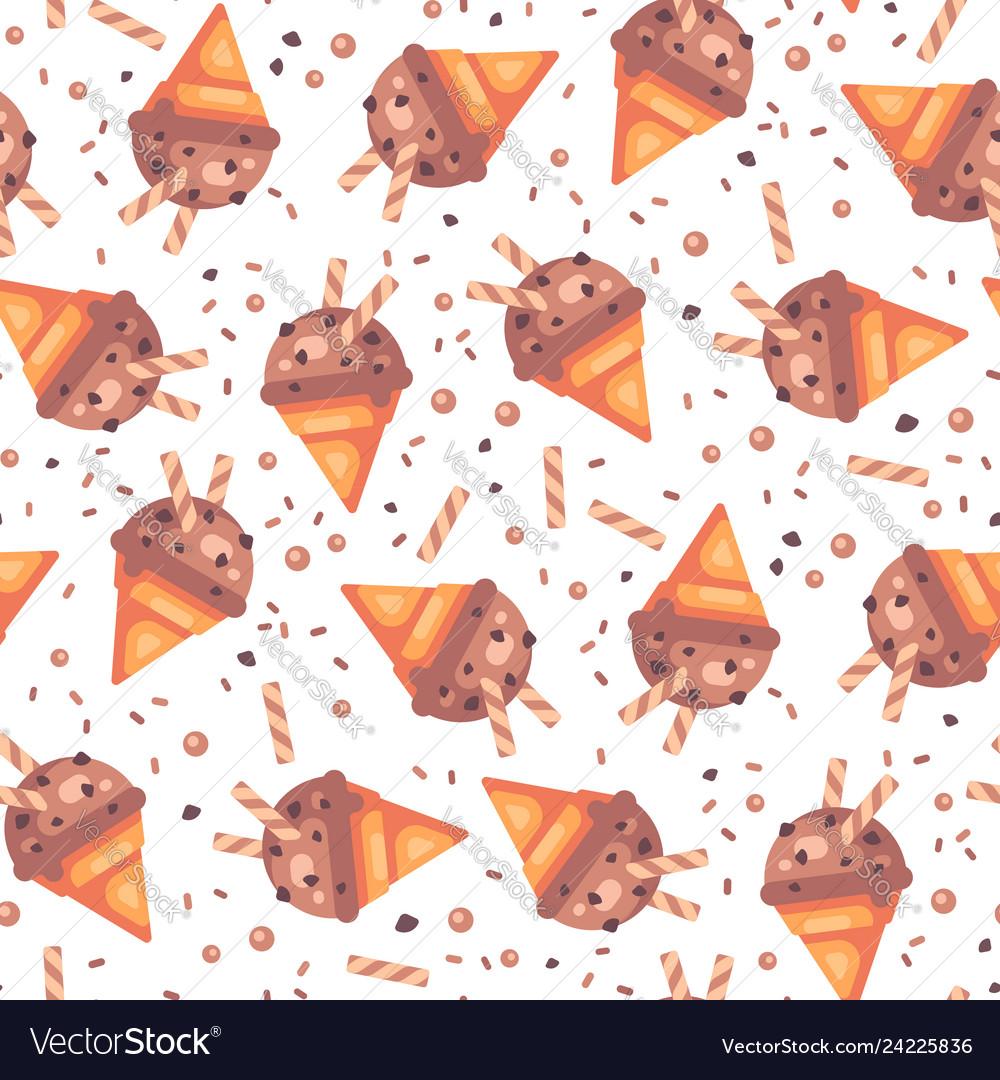 Chocolate ice cream cone seamless pattern