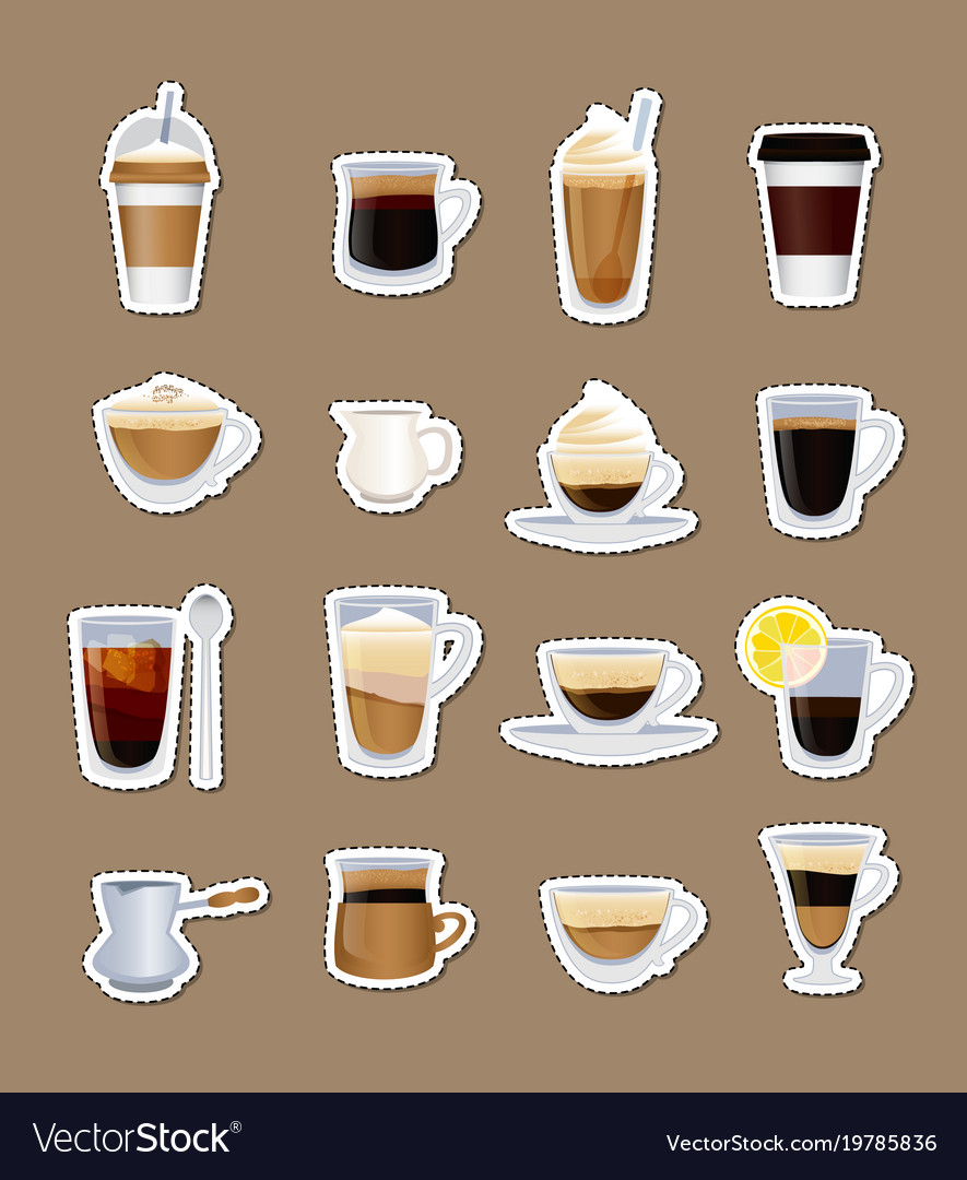 Coffee types stickers isolated vector image