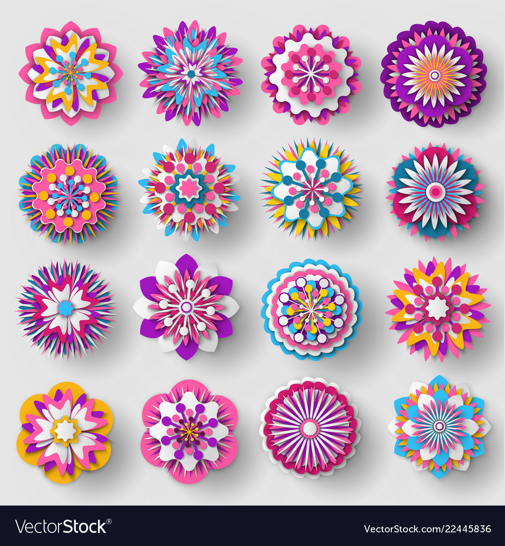 Cutted from paper flowers set colorful poster