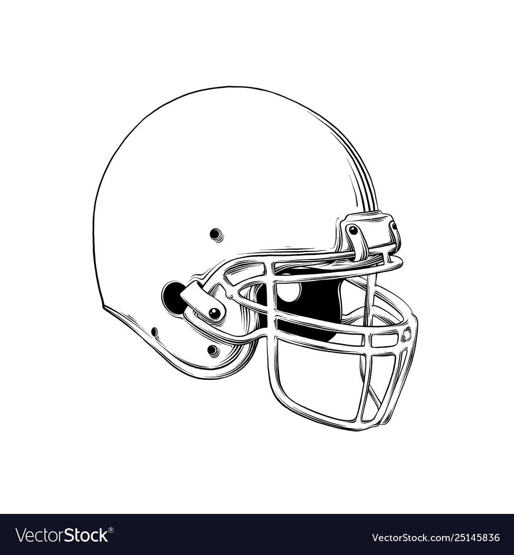 Drawing american football helmet