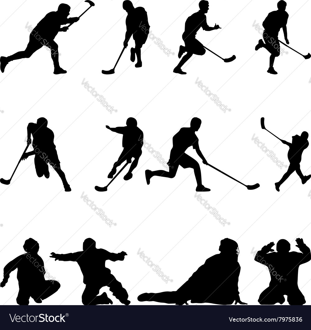 Floorball Silhouette On The White Background Vector Image