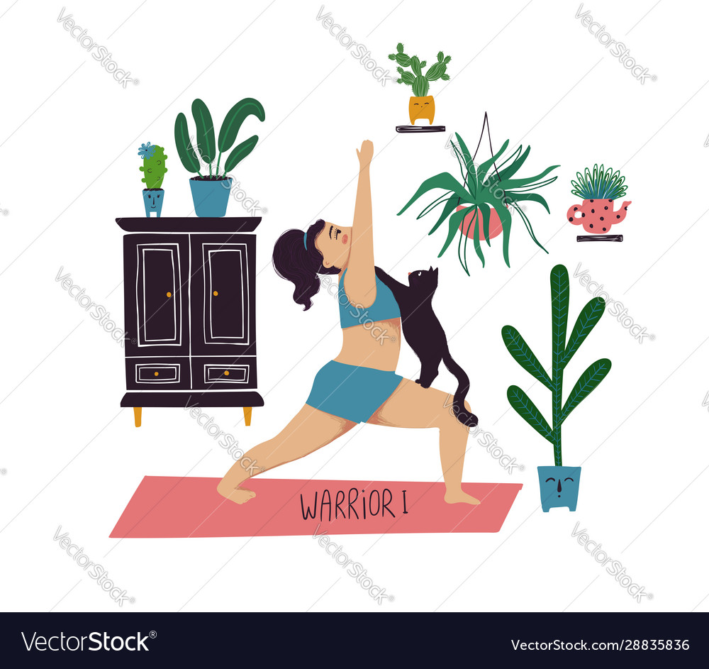 Girl Doing Warrior I Yoga Pose With Cat Royalty Free Vector