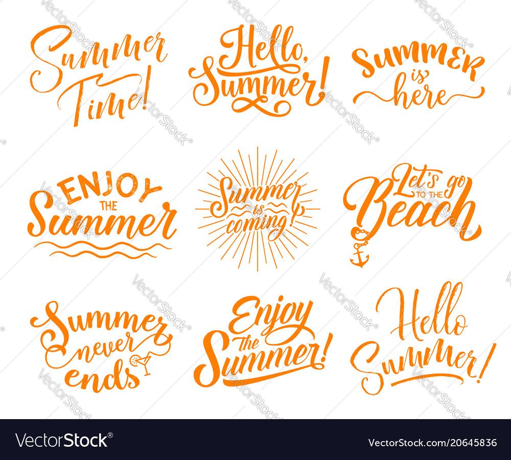 Hello summer lettering for season holidays design