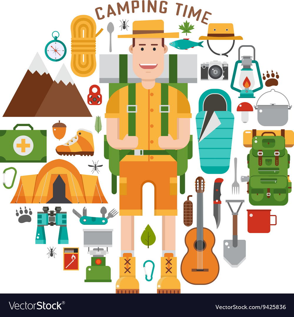 Hiking And Camping Gear Collection Royalty Free Vector Image