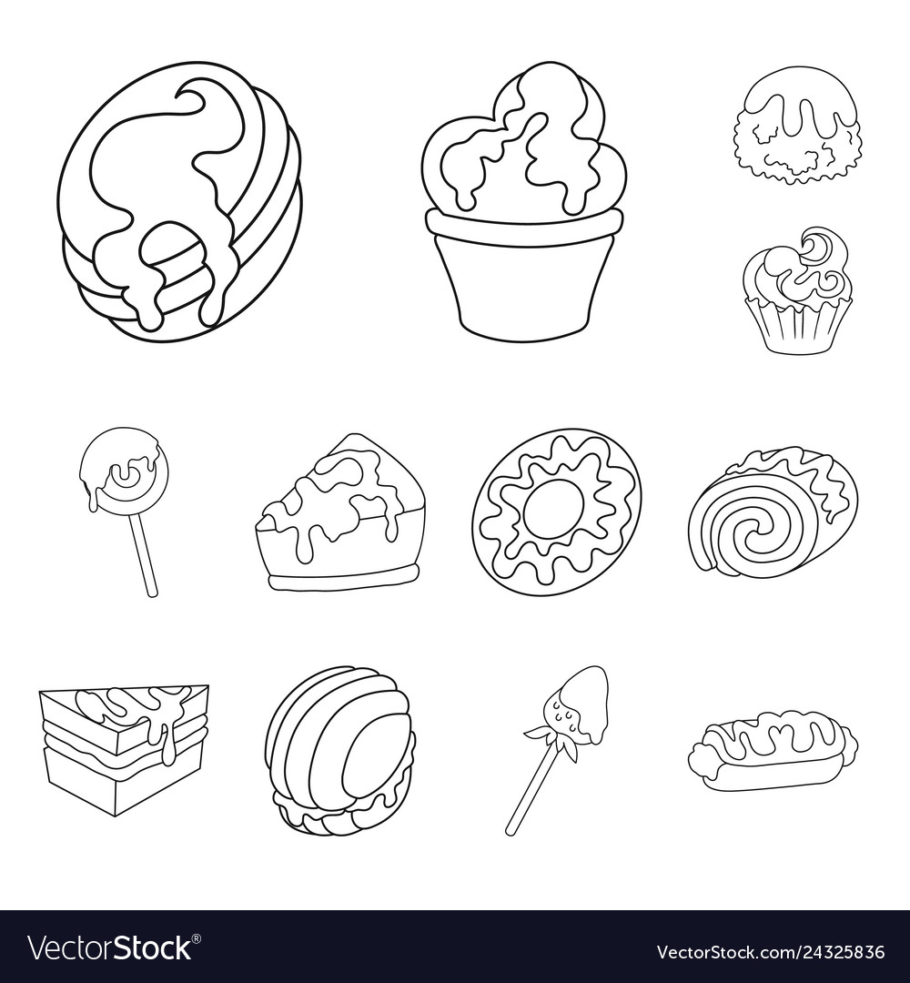 Isolated object of sweet and product symbol set