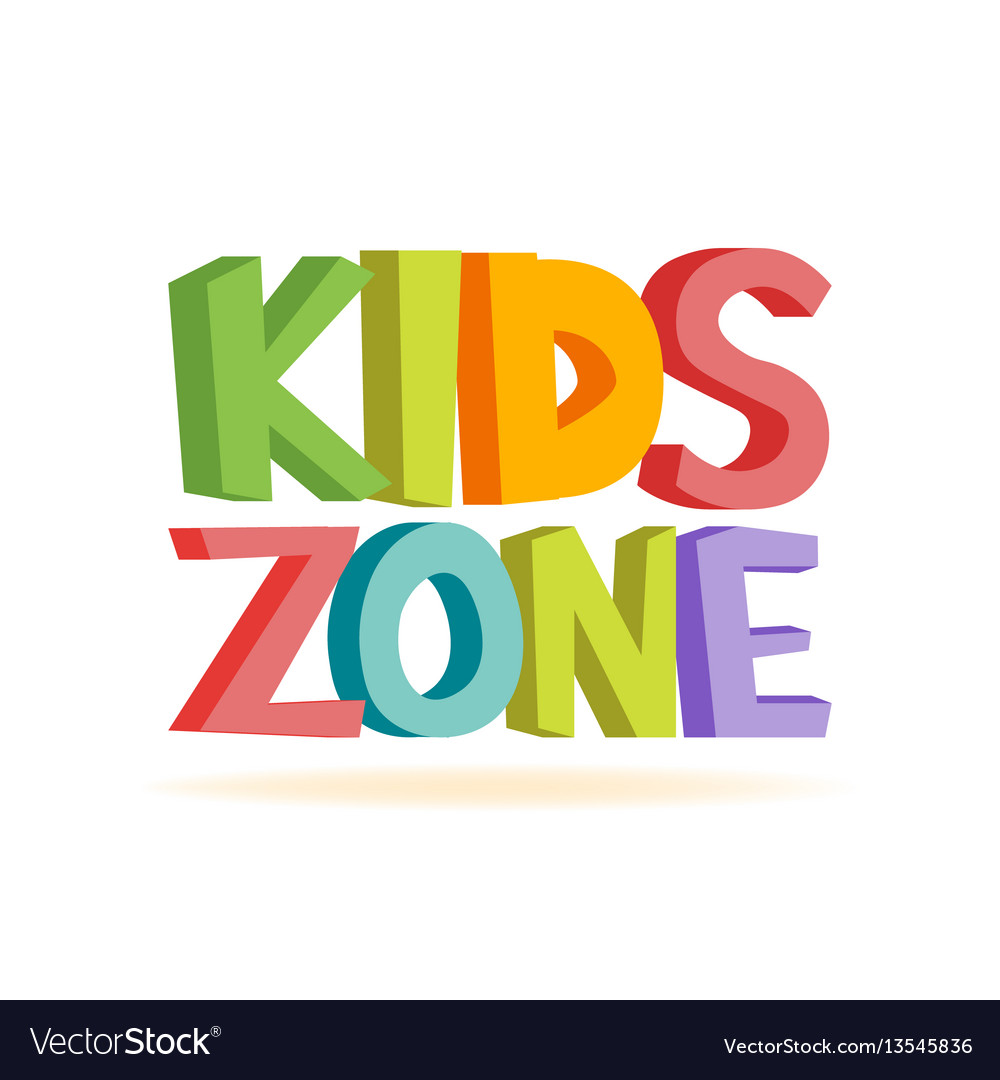 Kids zone funny colourful sign letters Royalty Free Vector