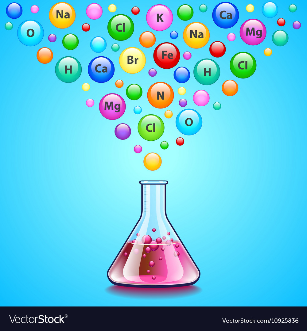 Laboratory flask and many bubbles with chemical vector image