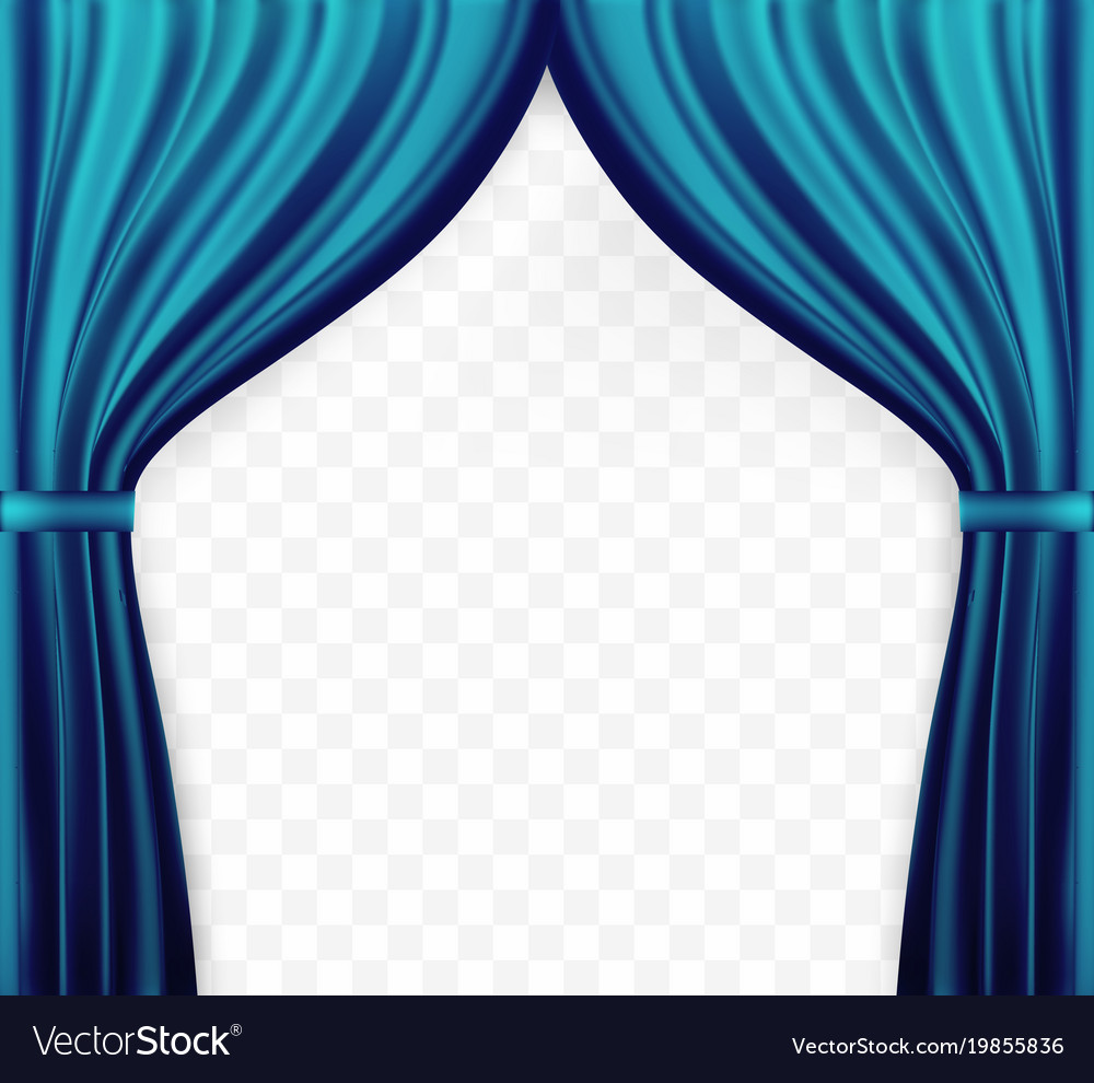 Naturalistic image of curtain open curtains blue