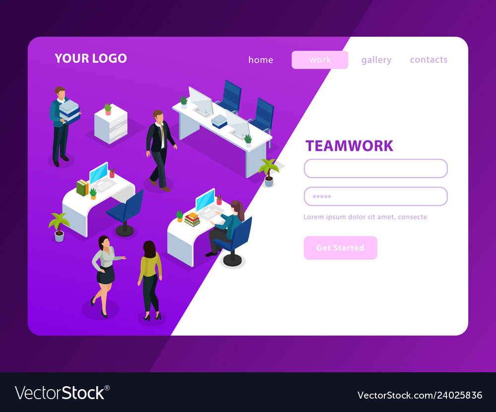 Office work isometric web page
