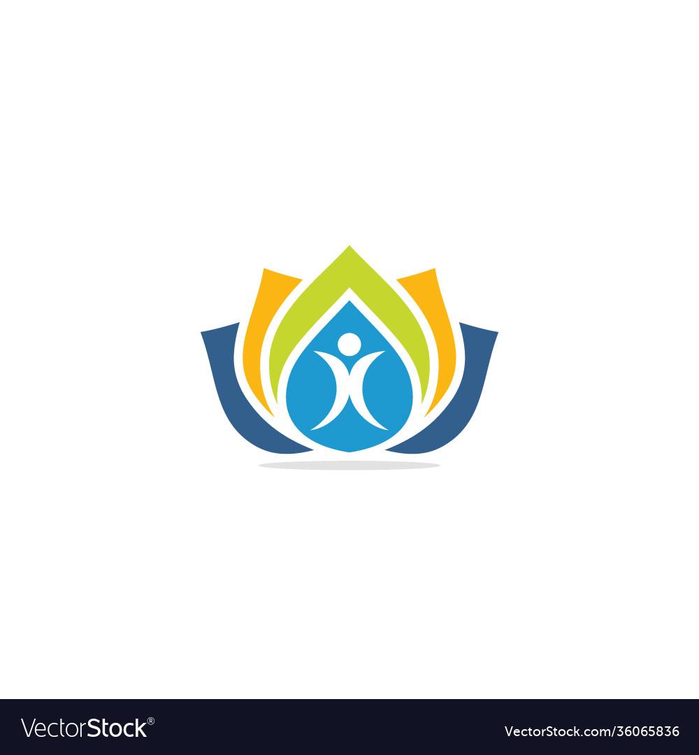 People lotus flower colorful logo
