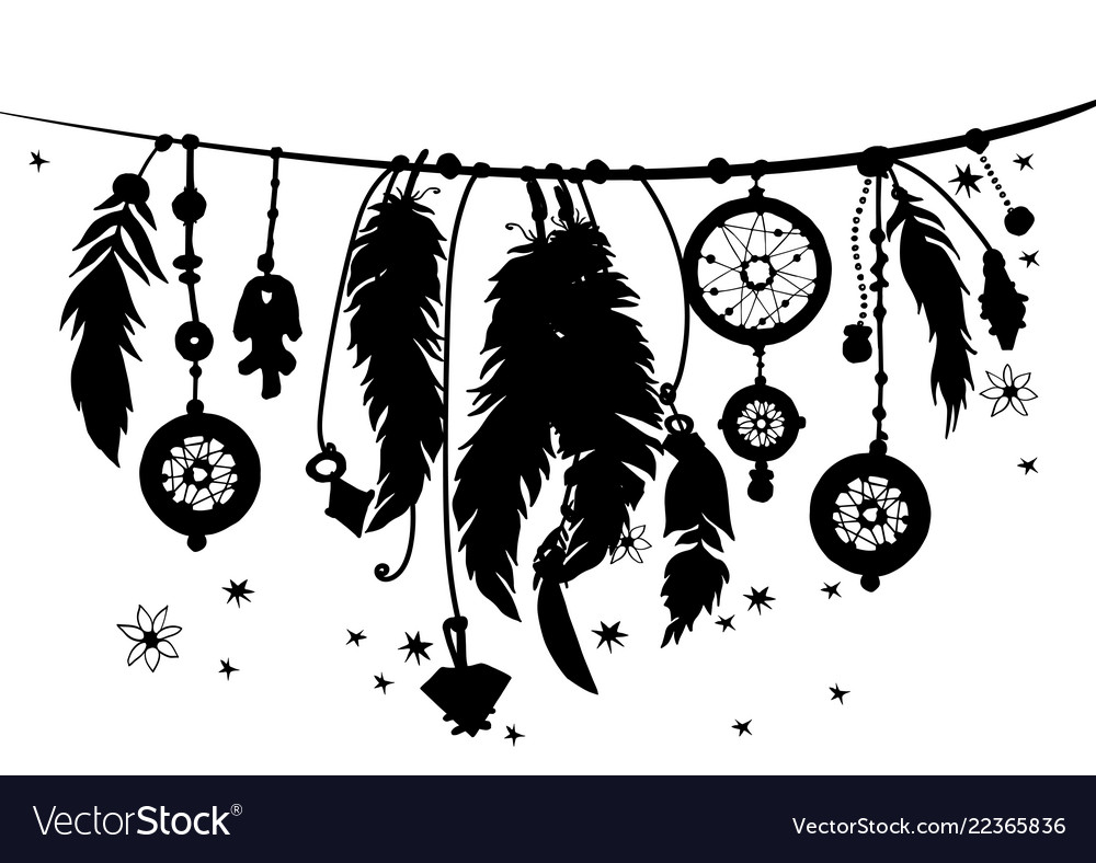 Seamless border with silhouettes of feathers