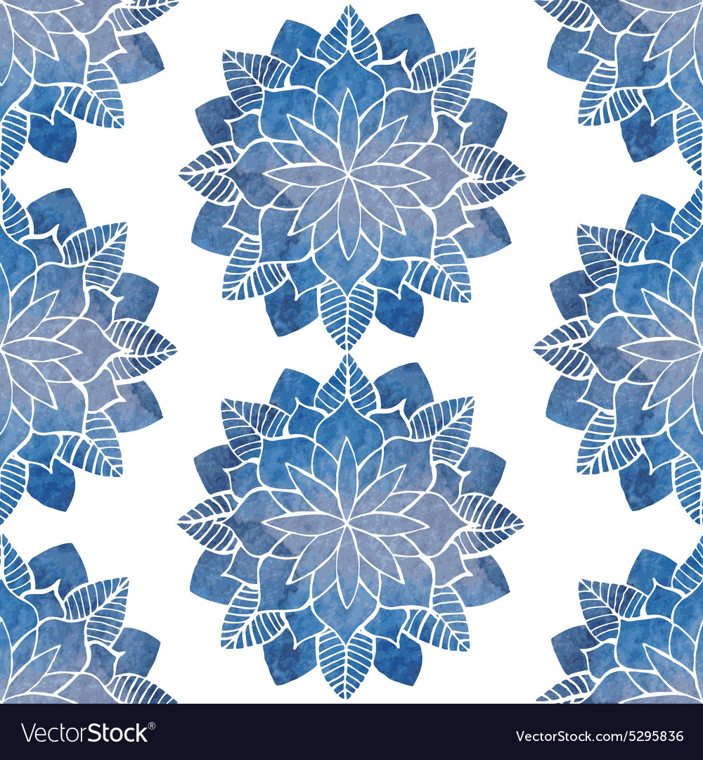Seamless pattern with hand-drawn watercolor blue