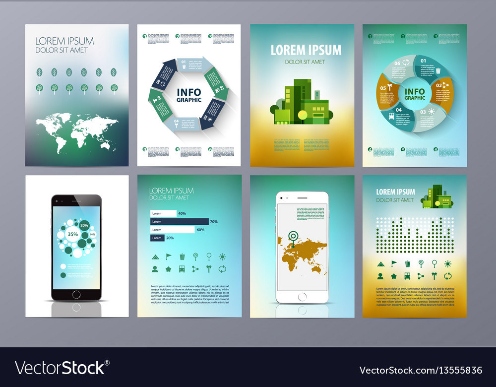 Set of eco infographic world map chat