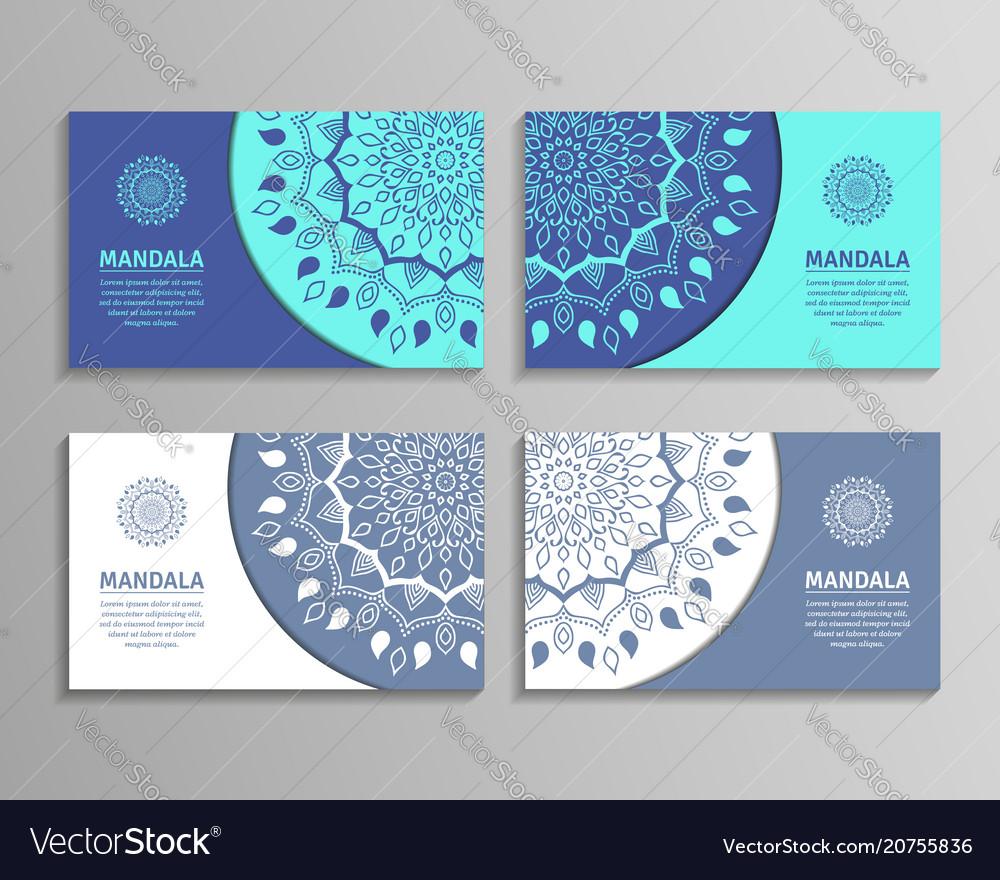 Sets of mandala business cards royalty free vector image sets of mandala business cards vector image colourmoves