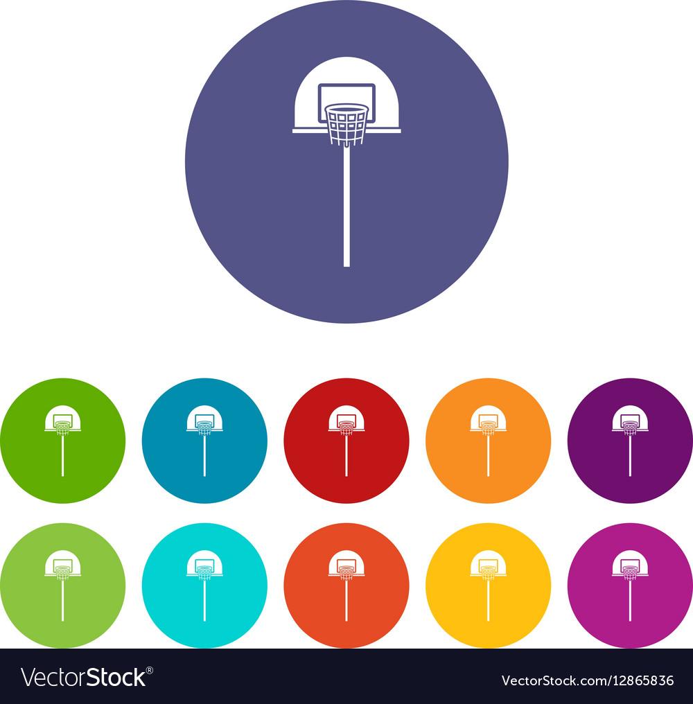 Street Basketball Hoop Set Icons Royalty Free Vector Image Diagram