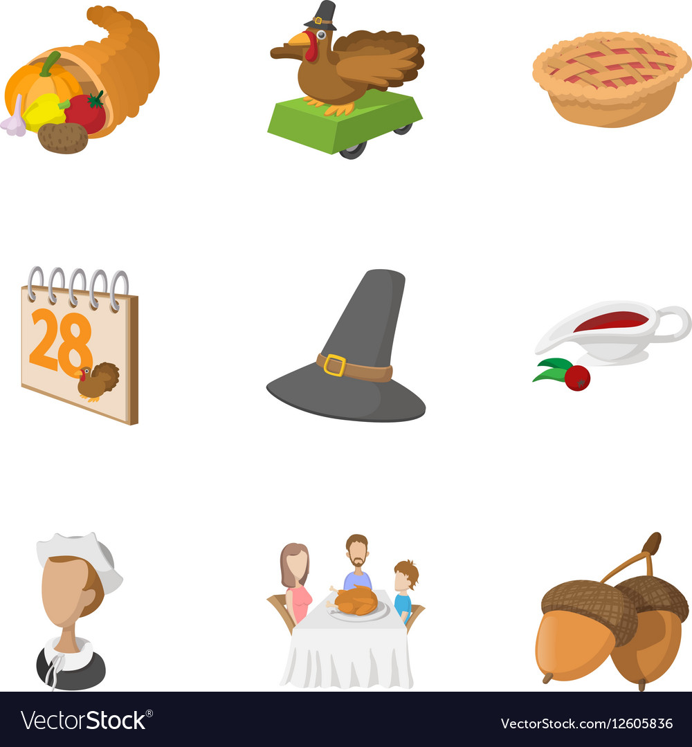 Thanksgiving day icons set cartoon style