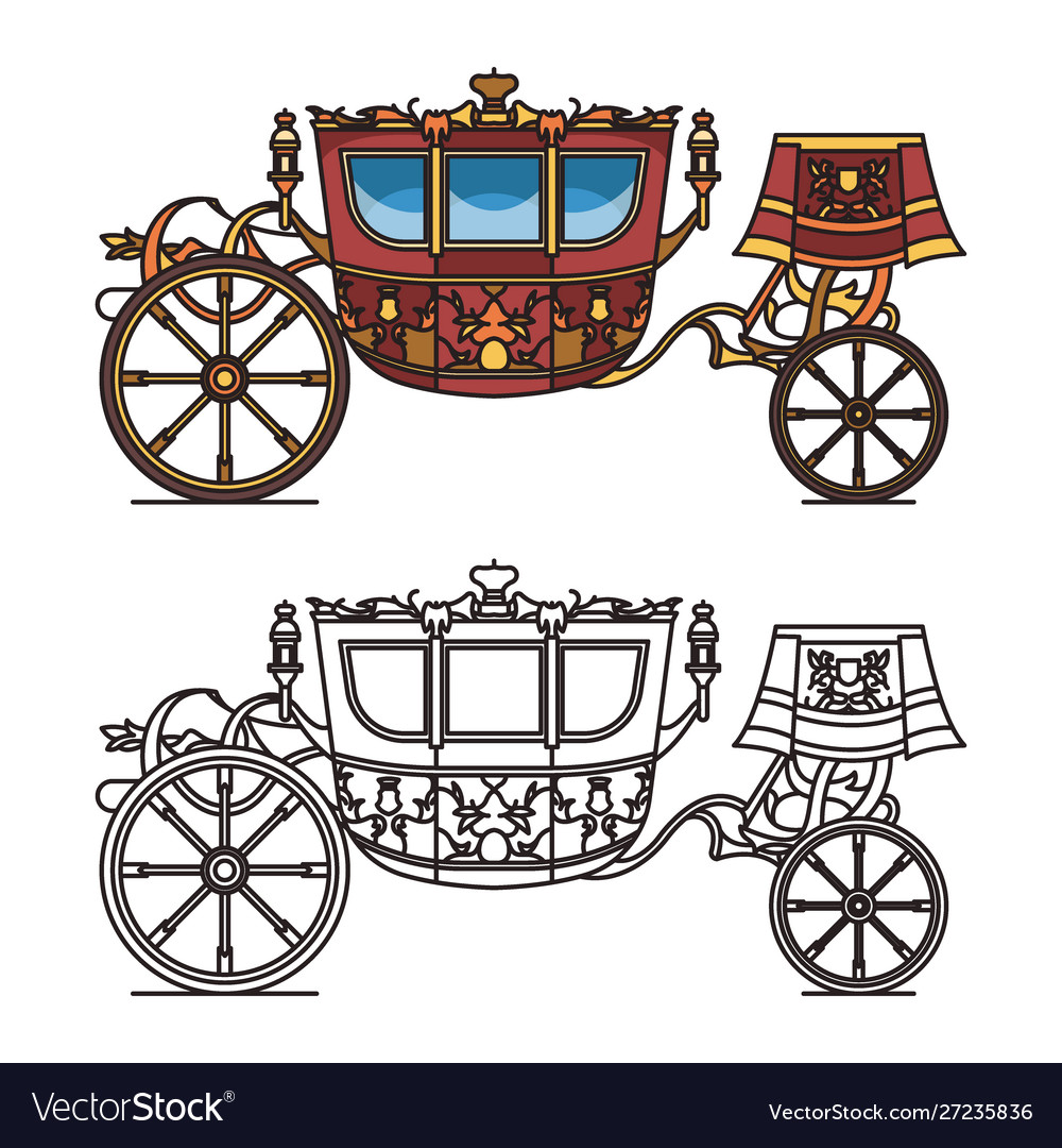 Vintage carriage contour chariot outline for king