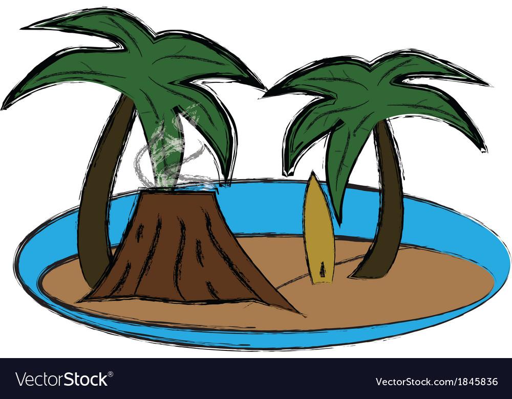 Vulcano and palms vector image