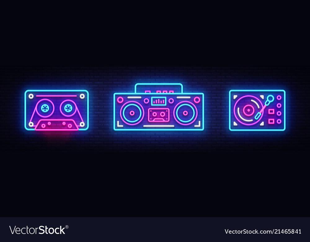 Big collection neon sing retro music neon symbols