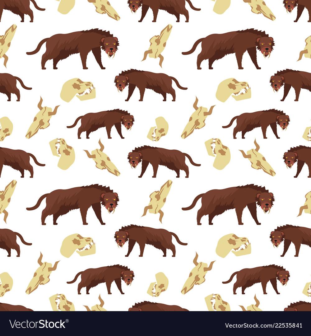 Cartoon tiger and skulls seamless pattern