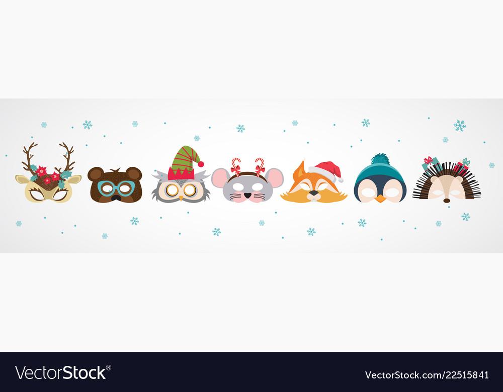Collection of winter animal masks and christmas
