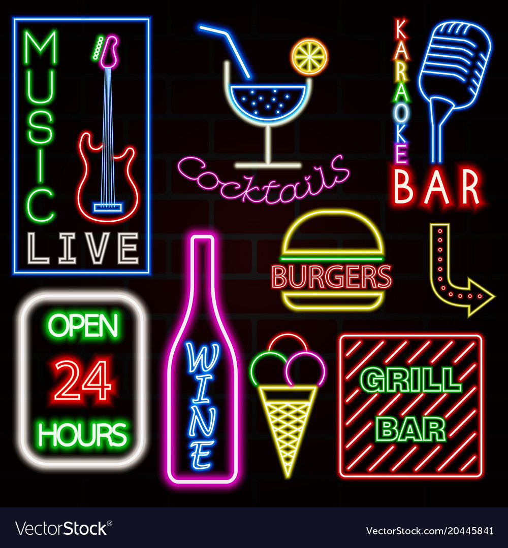 Colorful neon sign set eps10