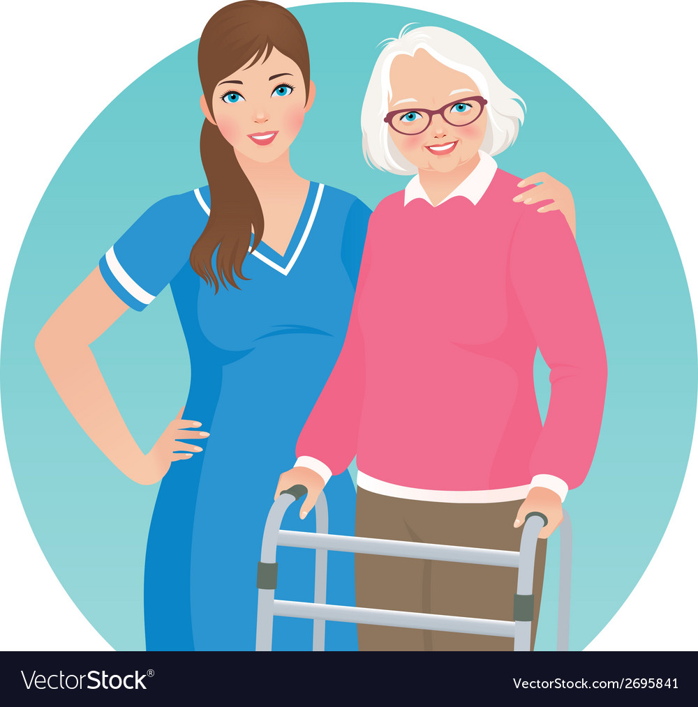 Elderly patient and a nurse vector image