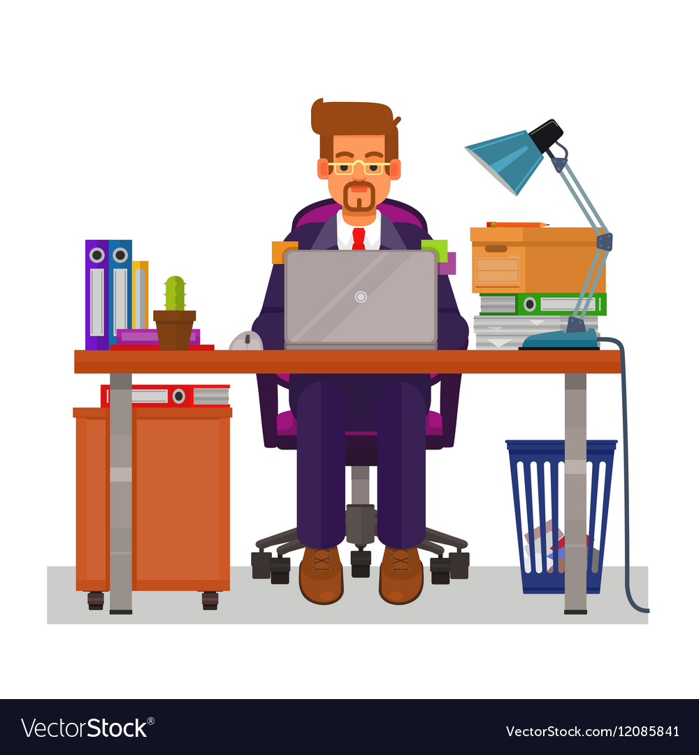 Flat of a man working on the vector image