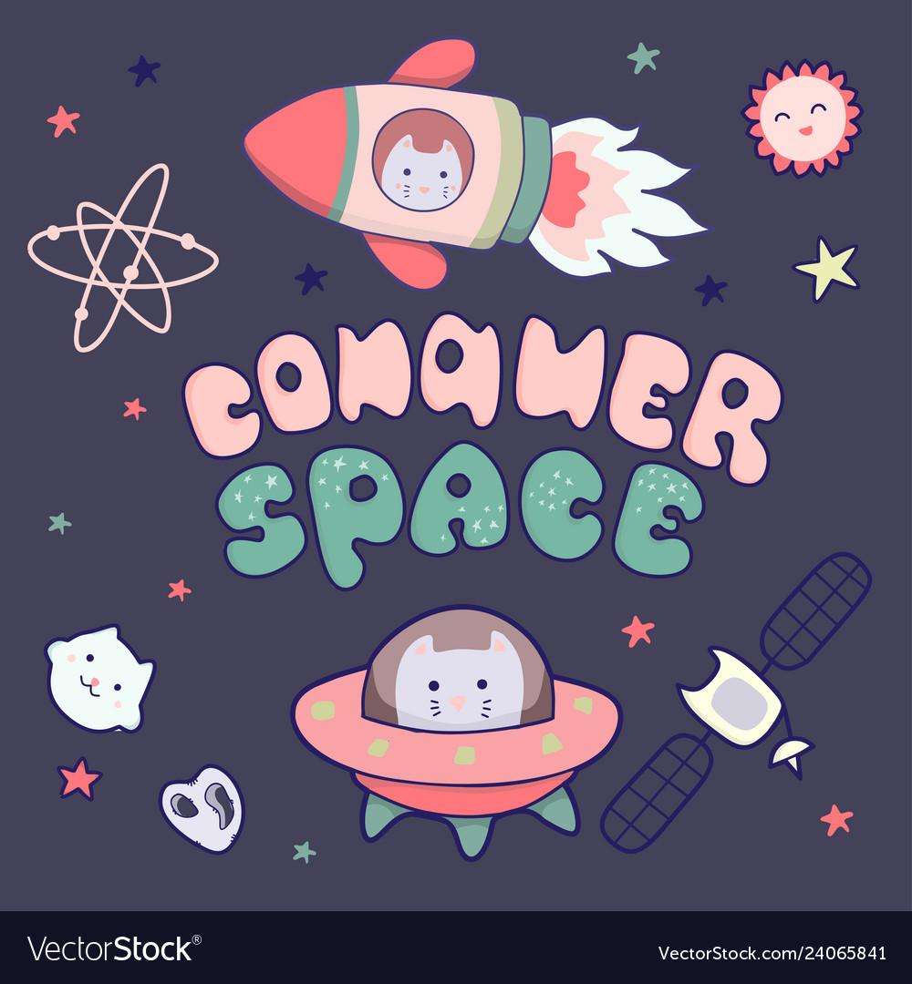 Kawaii cute cats astronauts flying in space among