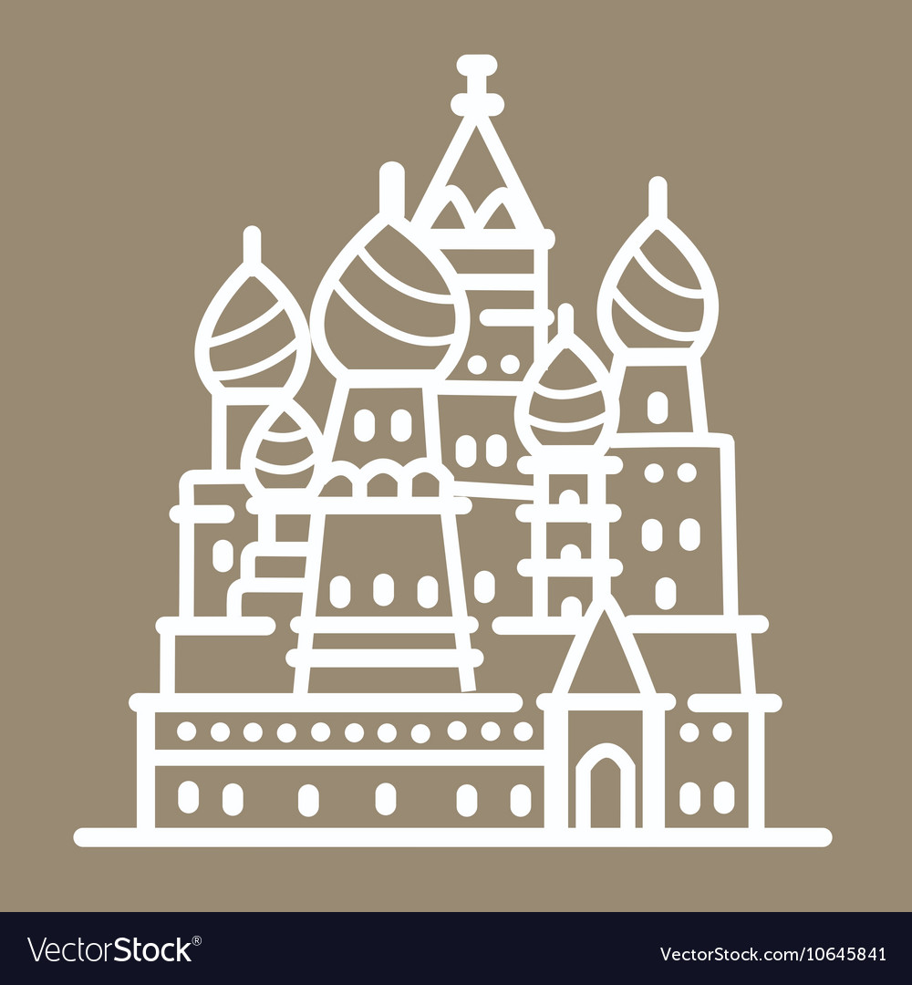Rusia landmark building line art
