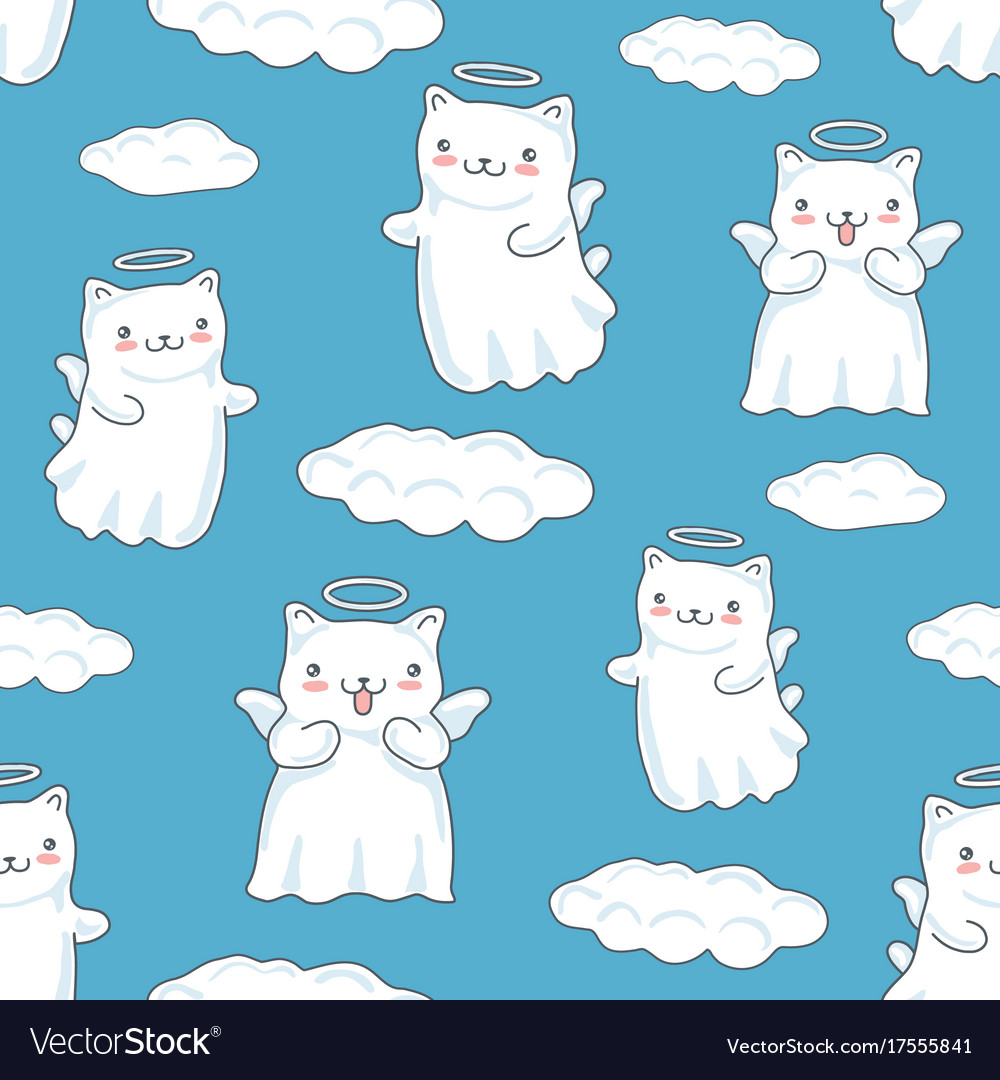 Seamless pattern background with clouds cartoon