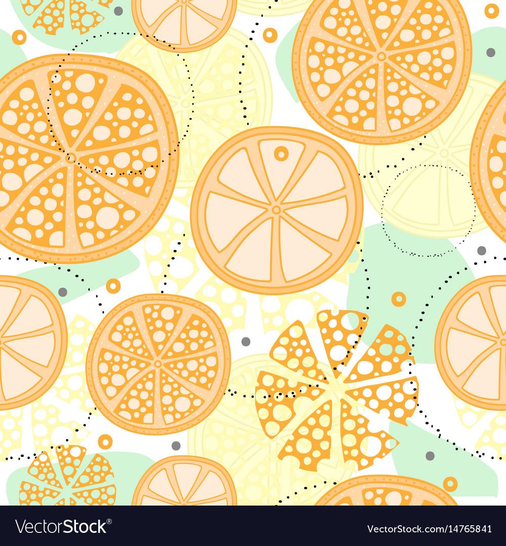 Seamless Pattern With Abstract Orange Fruit Lemon